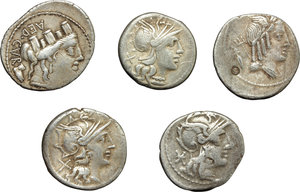 obverse: Roman Republic.  Multiple lot of five (5) unclassified AR Denarii.    AR.      About VF:VF.