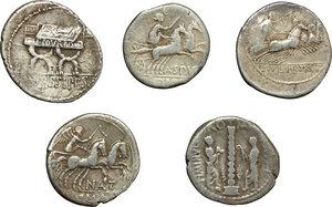 reverse: Roman Republic.  Multiple lot of five (5) unclassified AR Denarii.    AR.      About VF:VF.