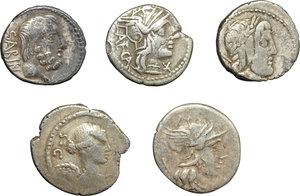 obverse: Roman Republic.  Multiple lot of five (5) unclassified AR Denarii.    AR.      About VF/VF.