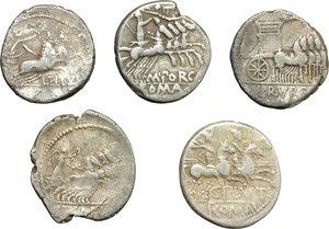 reverse: Roman Republic.  Multiple lot of five (5) unclassified AR Denarii.    AR.      About VF/VF.