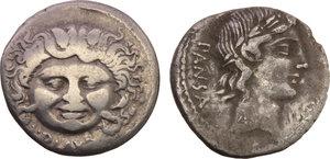 obverse: Roman Republic.  Multiple lot of two (2) AR Denarii of C. VIbius Pansa (Cr. 342/5b) and L. Plautius Plancus (Cr. 453/1).    AR.      F.