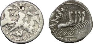 reverse: Roman Republic.  Multiple lot of two (2) AR Denarii of C. VIbius Pansa (Cr. 342/5b) and L. Plautius Plancus (Cr. 453/1).    AR.      F.