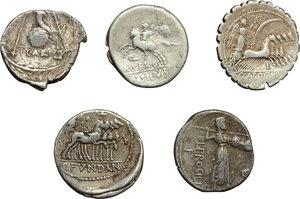 reverse: Roman Republic.  Multiple lot of five (5) unclassified AR Denarii.          About VF:VF.
