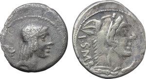 obverse: Roman Republic.  Multiple lot of two (2) AR Brockage Denarii of L. Thorius Balbus (Cr. 316/1).         Toned. About VF:VF.