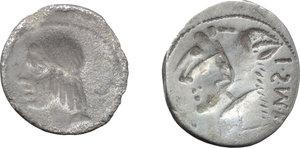 reverse: Roman Republic.  Multiple lot of two (2) AR Brockage Denarii of L. Thorius Balbus (Cr. 316/1).         Toned. About VF:VF.