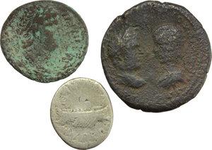 obverse: Roman Republic to Empire.  Lot of three (3) coins: Mark Antony AR Denarius, Nero AE Semis and Colonial AE.    AR/AE.      F:About VF.