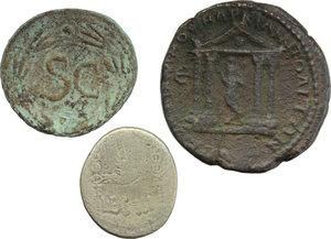 reverse: Roman Republic to Empire.  Lot of three (3) coins: Mark Antony AR Denarius, Nero AE Semis and Colonial AE.    AR/AE.      F:About VF.