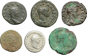 obverse: Roman Empire.  A multiple lot of six (6) unclassified AR/AE Coins of Domitian, Macrinus, Claudius II Gothicus (2), Aurelian and Carus.    AR/AE.      F:VF.