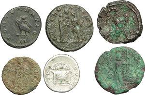 reverse: Roman Empire.  A multiple lot of six (6) unclassified AR/AE Coins of Domitian, Macrinus, Claudius II Gothicus (2), Aurelian and Carus.    AR/AE.      F:VF.