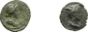 obverse: Roman Empire.  Multiple lot of two (2) unclassified selected AE Quadrantes, late 1st-mid 2nd century AD.         Two very attractive examples. VF/About EF.