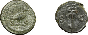 reverse: Roman Empire.  Multiple lot of two (2) unclassified selected AE Quadrantes, late 1st-mid 2nd century AD.         Two very attractive examples. VF/About EF.