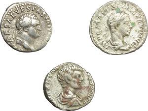 obverse: Roman Empire.  Multiple lot of three (3) unclassified AR Denarii of Vespasian, Caracalla as Caesar and Severus Alexander.    AR.      About VF:VF.