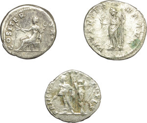 reverse: Roman Empire.  Multiple lot of three (3) unclassified AR Denarii of Vespasian, Caracalla as Caesar and Severus Alexander.    AR.      About VF:VF.
