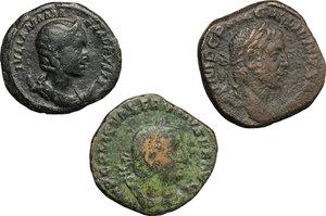 obverse: Roman Empire.  A multiple lot of three (3) unclassified AE coins of 3rd century. Iulia Mamaea, AE Dupondius; Valerianus I, AE Sestertius; Gallienus AE Sestertius.    AE.      About VF:VF.