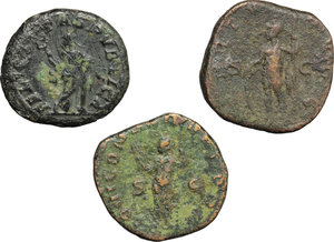 reverse: Roman Empire.  A multiple lot of three (3) unclassified AE coins of 3rd century. Iulia Mamaea, AE Dupondius; Valerianus I, AE Sestertius; Gallienus AE Sestertius.    AE.      About VF:VF.