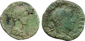 obverse: Roman Empire.  Multiple lot of two (2) unclassified AE coins of Commodus as Caesar and of Gordian III.    AE.     Green patina VF.
