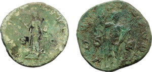 reverse: Roman Empire.  Multiple lot of two (2) unclassified AE coins of Commodus as Caesar and of Gordian III.    AE.     Green patina VF.