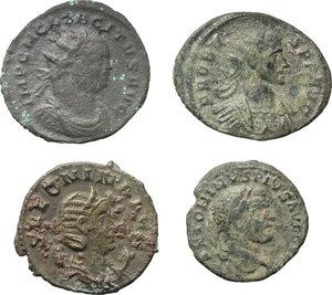 obverse: Roman Empire.  Multiple lot of four (4) unclassified AE/BI coins (3 Antoniniani and a debased denarius) of Caracalla, Salonina, Probus and Tacitus.    AE/BI.      F:VF.