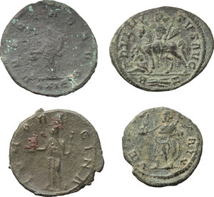 reverse: Roman Empire.  Multiple lot of four (4) unclassified AE/BI coins (3 Antoniniani and a debased denarius) of Caracalla, Salonina, Probus and Tacitus.    AE/BI.      F:VF.