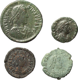 obverse: Roman Empire.  Lot of 4 AE coins of 4th century AD. Unclassified. Valentinian II, Theodosius I (2) and Arcadius.          Good VF:EF.