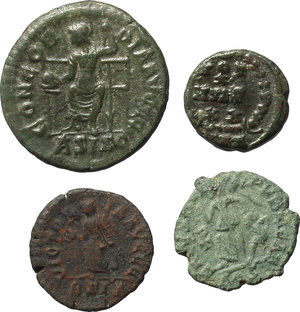 reverse: Roman Empire.  Lot of 4 AE coins of 4th century AD. Unclassified. Valentinian II, Theodosius I (2) and Arcadius.          Good VF:EF.