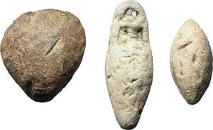 obverse: Leads from Ancient World. Roman Republic.  Lot of 3 lead objects: Votive lead scallop-shell; mm. 30 g. 44,25. Votive lead amphora; mm. 41 g. 34.06. Lead slingshot bullet; mm. 28 g. 26.31.    PB.      VF.