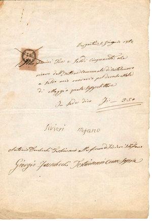 D/ REGNO LOMBARDO VENETO. Bergantino - Rovigo. 1 Giugno 1862. Documento del comune di Nave con marca da 7 Kr. su carta rosa. Dimensioni: 20 Cm X 29 Cm
