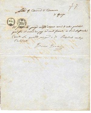 D/ REGNO LOMBARDO VENETO. Rovigo. 17 Aprile 1860. Documento della camera di commercio reso bollato da 2 marche da bollo da 30 Kr e 6 Kr su carta tenuemente azzurrata. Dimensioni: 22 Cm X 32 Cm