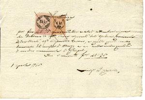 D/ REGNO LOMBARDO VENETO. 1 Aprile 1865. Documento della reso bollato da 2 marche da bollo:Marca da 15 Kr su carta rosa; Marca da 4 Kr rosa-giallino su carta rosa. Dimensioni: 23 Cm X 16 Cm