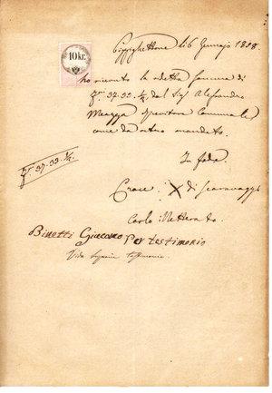D/ REGNO LOMBARDO VENETO. Pizzighettone. 16 Gennaio 1858. Documento reso bollato da marca da bollo da 10 Kr. della seconda serie calcografica su carta bianca (R). Dimensioni: 20 Cm X 29 Cm