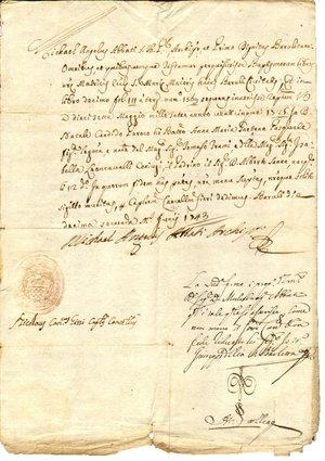 D/ Barletta. 12 Giugno 1743. Estratto dal libro dei battesimi manoscritto dal Vescovo di Barletta Angelo Michele con firma autografa e sigillo a secco in basso. In carta filigranata. Dimensioni: 27Cm X29,5 Cm