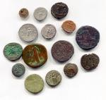 R/ Mini collezione A - Interessante gruppo di monete del periodo romano antico. Vengono proposte 15 monete con ben 10/12 diverse tipologie come: quadrante, denario, antoniniano, follis/maiorina, AE provinciale, asse, sesterzio, dupondio, oncia. Conservazioni varie, diversi imperatori (a voi la divertente ricerca!). Eccellente e curioso lotto da studio. Da notare che è presente un denario di NERONE (MB) e una delle provinciali è del periodo di TIBERIO. Controllate bene foto per tutti i dettagli! Per qualsiasi ulteriore informazione non esitate a scriverci! Saremo felici di rispondervi.