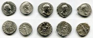 D/ Mini collezione B – Proponiamo 5 stupendi denari romani di 5 imperatori diversi. Le monete nel complesso presentano rilievi e conservazioni gradevoli e molto interessanti. Cinque nomi che non possono mancare nella collezione personale!Controllate bene foto e lista qui sotto per tutti i dettagli! 1.) Vespasiano (68-79). AR Denarius (2,71gr. – 18mm.). R.\: PONT MAX TR P COS V. C. 375. qBB.2.) Domiziano (81-96). AR Denarius (2,39gr. – 17mm.). R.\: IMP XXI – COS XV. C. 259. BB.3.) Traiano (98-177). AR Denarius (2,77gr. – 18mm.). R.\: COS IIII. C. 237. qBB.4.) Adriano (117-138). AR Denarius (3,18gr. – 18mm.). R.\: COS III. C. 295. qSPL-BB.5.) Antonino Pio (138-161). AR Denarius (2,79gr. – 17mm.). R.\: COS IIII. C. 228. BB.
