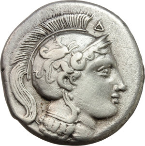 Italy. Northern Lucania, Velia.   AR didrachm. Period VII: Philistion Group, 300-280 BC. Obv. Head of Athena right, wearing Attic helmet decorated with griffin; above helmet, Δ. Rev. Lion walking right, above Φ, pentagram and I; in exergue, ΥΕΛΕΤΩΝ. HN Italy 1307. AR. g. 7.35  mm. 20.00   Fully centred. Cleaning marks. VF.