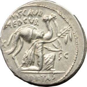 M. Aemilius Scaurus and Pub. Plautius Hypsaeus.  AR Denarius, 58 BC. Obv. Camel right; before, King Aretas kneeling right, holding reins and olive-branch; on left, EX; on right, SC; in exergue, REX ARETAS. Rev. HYPSAEVS/AED CVR. Jupiter in quadriga left, CAPTV on right; scorpion below horses; in exergue, C. HYPSAE COS/PREIV. Cr. 422/1b. B. 8. AR. g. 4.08  mm. 19.00   Good metal and full weight. Brilliant, superb and lightly toned. EF.