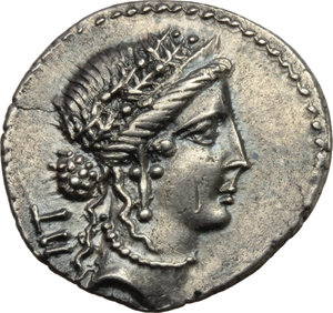 Julius Caesar.  AR Denarius, 48-47 BC. Mint moving with Caesar. Obv. Female head right (Pietas or Venus) wearing diadem and oak wreath; behind, LII. Rev. Trophy of Gallic arms; on right, axe surmounted by an animal s head; below, CAE-SAR. Cr. 452/2. B.(Julia) 26. AR. g. 3.81  mm. 19.00  Scarce. An outstanding example, perfectly centred and superb. Nicely toned. Almost invisible hairline flan crack at nine o clock, otherwise EF/Good EF.