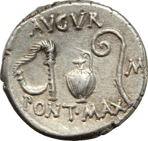 Julius Caesar.  AR Denarius, 46 BC. Sicily (?). Obv. COS. TERT - DICT. ITER. Head of Ceres right, wearing wreath of barley. Rev. AVGVR/PONT. MAX. Culullus, aspergillum, jug and lituus; in right field, M (Munus). Cr. 467/1b. AR. g. 3.97  mm. 17.50  Scarce. Excellent metal and full weight. Perfectly centred, brilliant and superb. Light tone with golden hues. EF.