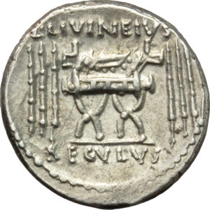 L. Livineius Regulus.  AR Denarius, 42 BC. Obv. The head of the praetor L. Livineius Regulus right. Rev. Curule chair; on either side, three fasces; above, L. LIVINEIVS; in exergue, REGVLVS. Cr. 494/28. B. 11. AR. g. 3.97  mm. 17.00  R. Rare. Great metal and full weight. Well centred, brilliant and superb. EF.