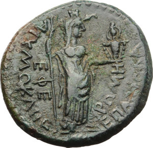 Statilia Messalina, third wife of Nero.  AE 21 mm. Ephesus mint, Ionia. Reign of Nero, 65-66 AD. Obv. MEΣΣAΛINAN [ ]. Draped bust of Messalina right. Rev. AIXMOKΛHΣ EΠ ABIOΛA/ROMH/EΦE. Roma standing left, holding sceptre and cult statue of Artemis. RPC 2632. AE. g. 6.38   RRR. An outstanding example of this extremely rare issue, among the finest known. Dark green patina. About EF. Lanz 147, lot 281.