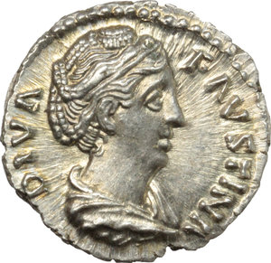 Faustina I, wife of Antoninus Pius (died 141 AD).  AR Denarius, after 141 AD. Obv. DIVA FAVSTINA. Draped bust right. Rev. CONSECRATIO. Peacock standing right, head left. RIC (Ant. Pius) 384. AR. g. 3.49  mm. 18.00   A outstanding example, lustrous and virtually as struck. Exceptional. FDC.