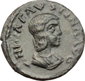 Annia Faustina, third wife of Elagabalus (Augusta 221 AD).  AE 17 mm. Antiochia mint, Pisidia. Obv. ANNIA FAVSTINA AVG. Draped bust right. Rev. ANTIOCH COLONIA. Eagle with open wings, standing facing, head left. SNG BN Paris-. SNG Cop-. SNG von Aulock-. BMC-. Krzyzanowska ANN 1.1 var. (eagle s head right). Cf. NAC 25, lot 530 (same var.). AE. g. 1.95   RRRR. Of the greatest rarity and among the finest examples known. Superb expressive portrait. Dark green patina. EF. Provenance: Dr. Busso Peus 398, lot 714.