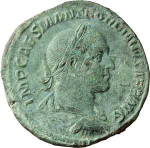 Gordian II (238 AD).  AE Sestertius, Rome mint. Obv. IMP CAES M ANT GORDIANVS AFR AVG. Laureate, draped and cuirassed bust right, seen from behind. Rev. VIRTVS AVGG SC. Virtus standing left, holding shield set on ground in right hand and spear in left. RIC 8. C. 15. AE. g. 18.22  mm. 31.00  RR. Very rare. A remarkable exquisite example, with a splendid portrait on a very broad flan. Enchanting untouched light green patina. EF. The son of Gordian I, Gordian II was born late in the reign of Commodus (191/2 AD) and bore the same names as his father. He possessed considerable administrative experience and was made co-emperor at the commencement of the rebellion against Maximinus. A man of culture (he reputedly possessed a library of 62,000 volumes) the younger Gordian nevertheless was addicted to the pursuit and pleasure and had numerous mistresses. When Capellianus, governor of Numidia, refused to join the rebellion and marched against Carthage at the head of a legionary force it fell to the lot of the younger Gordian to lead an undisciplined and hastility  assembled rabble, comprised of local militia and armed civilians, against them. The inevitable result was a mass slaughter of the rebel force and its commander's body was never recovered. This defeat effectively ended the uprising in Africa as the elder emperor committed suicide immediately on receipt of the news. (D.R.Sear, Roman Coins III, p.98).