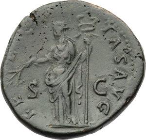 ROMA Imperiale. Adriano (117-138 d.C.) Sesterzio 134-138 d.C. (Ø32,7 gr.25,0) D/Testa laureata a d. R/La Felicitas a s con ramoscello e caduceo. C.618. AE. (Patina scura) BB