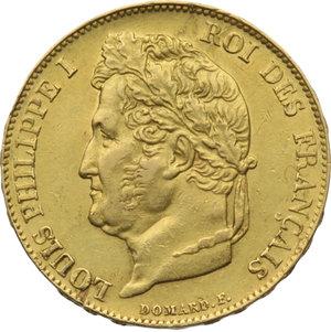FRANCIA. Luigi Filippo (1830-48). 20 franchi 1833B. Fr.560. Au. BB/qSPL