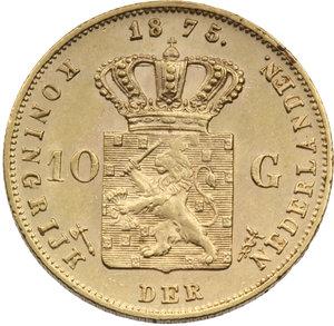 OLANDA.Guglielmo III (1849-90) 10 gulden 1875. KM.105/Fr.342. Au. qFDC