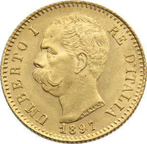 REGNO D'ITALIA. Umberto I (1878-1900) 20 lire 1897. Pag.588. Au. Raro                          FDC