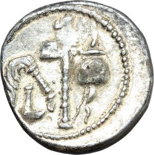 Julius Caesar.  Fourrée (?) Denarius, 49-48 BC. Obv. Elephant advancing right, trampling on horned serpent; in exergue, CAESAR. Rev. Pontifical emblems: simpulum, aspergillum, axe and apex. Cr. 443/1. B.9. AR?. g. 2.61  mm. 18.50   Plating completely intact. An exceptional example. VF.