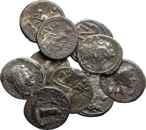 Roman Republic.  Multiple lot of ten (10) AE Denarii, including some with corrosion and encrustations, fourrée or contemporary (?) forgeries.    AR.      Fair:About F.