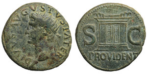 Divus Augustus Æ As. Struck under Tiberius. 31-37 AD. 11.04 gr. - 28.4 mm. O:\ DIVVS AVGVSTVS PATER, radiate head left. R:\ S-C either side of large altar, PROVIDENT in ex. Cohen 228. XF