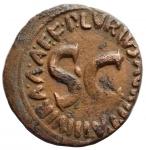 reverse: Impero Romano -Augusto. 27 a.C-14 d.C.Asse. Ae. D/ CAESAR AVGVST PONT MAX TRIBVNIC POT. Testa nuda a destra.R/ P LVRIVS AGRIPPA III VIR AAA FF intorno a grande SC. Peso gr. 9,98. Diametro mm. 26,9. BB.§
